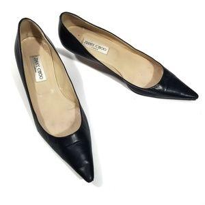 Jimmy Choo Black Pointed Toe Kitten Heel